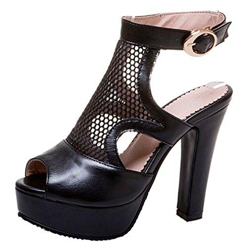 Schwarz Peep Riemchen Damen Schuhe Elegant Pumps Heel Mit Slingback Ye Plateau High Blockabsatz Toe Sandalen 65SHBxtqw