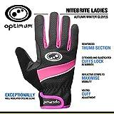 OPTIMUM - Guantes para mujer, talla XX-S, color negro/rosa