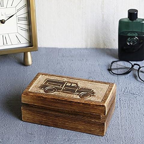 Store Indya, Hecho a mano Mangowood decorativo almacenaje de la joyeria de la baratija cajas de joyas de usos multiples con tallas Vintage coche (Pequeno)