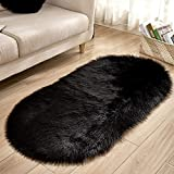 LZHDAR Oval Faux Fur Rug, Fluffy Schaffell Stuhlabdeckung Sitzkissen Home Teppichbodenmatte für Wohnzimmer Schlafzimmer Sofa Blau 40 * 60 cm,Black,40 * 60cm