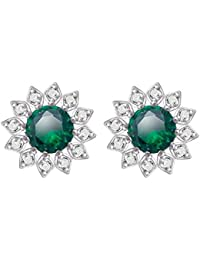 Manvik Platinum Plated Cubic Zirconia High Quality Swarovski Stone Green Stud Earrings For Women And Girls