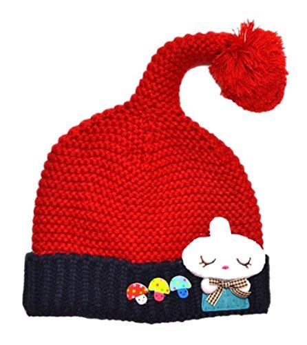 Kids Super Süß 3D Pilz Hase Pattern Muster Design Handgemachte Wolle Beanie Strick Mütze Strickmütze Hüte Hat Hut (Rot) (Kind Roter Pilz Hut)