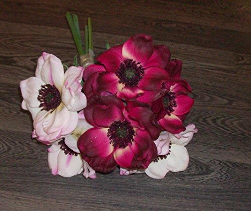 6er Set Deko Kunstblumen, Anemonen, rot/weiß, Länge ca 35cm