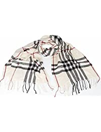 Large Soft designer check style winter Plaid scarf Cream