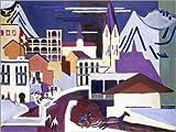 Posterlounge Leinwandbild 130 x 100 cm: Davos Platz, am Bahnhof von Ernst Ludwig Kirchner/ARTOTHEK - fertiges Wandbild, Bild auf Keilrahmen, Fertigbild auf Echter Leinwand, Leinwanddruck