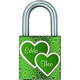 Gravurenalarm® Liebesschloss grün mit individueller einseitiger Gravur