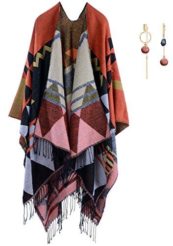 Donne Inverno maglieria Mantello di scialle-Moda nappa elegante Boemia nazionalità vento lungo mantello sciarpa(Sovradimensionato) Arancione