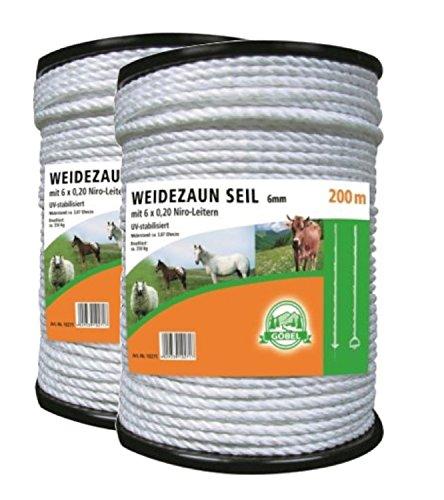*2 Rollen a 200 mtr. Elektroseil Seil 6 mm Weidezaun Elektrozaun Weidezaunseil*