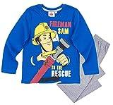 Feuerwehrmann Sam Schlafanzug Jungen Lang (Blau-Grau, 110)