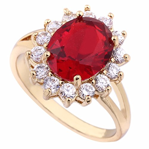Women Red Rhinestone Inlaid Gold Plated Ring Copper Crystal Wedding Ring Gift