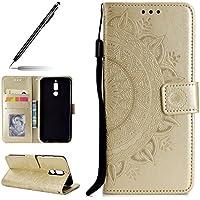 Uposao Handyhülle für Huawei Mate 10 Lite Leder Tasche Schutzhülle Retro Handytasche Ledertasche Lederhülle Klapphülle Book Case Schutzhülle Flip Cover Karteneinschub,Gold