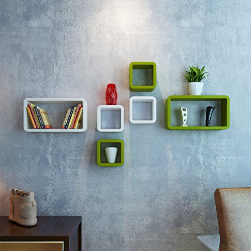 Green & White Decorative Wooden Shelves 6 Pcs Set