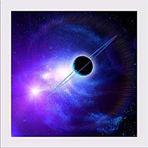 AZ Planet With Rings Against The Sun In Blue Space Canvas Painting White Frame 7 x 7inch