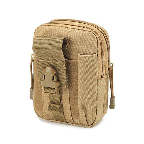 QEES Herren Hüfttasche Taillenbeutel Sporttasche Militärisch für Camping Jogging für Kleine Dinge wie Handy Schlüssel HYYB01-Hellbraun