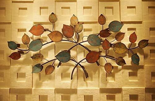 Schmiedeeisen Blatt Wand (ZLL Wanddekoration, Wandablage Regal, Haushalt Wandregal Baum Blatt Kunst Wand dekorative Eisen Wohnzimmer Schlafzimmer Wanddekoration dekorative Gemälde, Haushalt Wandregal,133 * 62 cm)