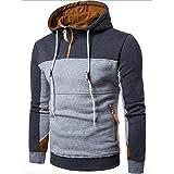 Kanpola Herren Herbst-Winter Pullover Patchwork Langarm Ständer Collor Mantel Strickjacke Outwear (XL, Dunkelgrau)