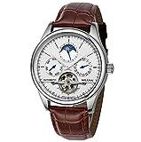 Orologi automatici meccanici del cuoio meccanico del Tourbillon degli uomini, modo dell'orologio di visualizzazione analogico dell'automezzo dell'automezzo di tempo multiplo di tempo , 1