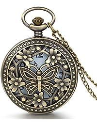 JewelryWe Diseño Retro Bronce, de flores y mariposas, reloj de cuarzo de bolsillo con cadena de 31,5cm