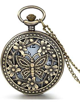JewelryWe Vintage Taschenuhr Damen Schmetterling Kettenuhr Analog Quarz Uhr mit Halskette Kette Pocket Watch Muttertag...