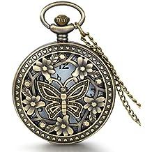 JewelryWe colgante collar de reloj de bolsillo redondo cuarzo Fantasía flor mariposa y corazón amor aleación