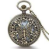 JewelryWe Montre de Poche Ronde Quartz Fleur Papillon Coeur Amour Pendentif Collier...