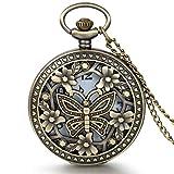 JewelryWe Diseño Retro Bronce, de flores y mariposas, reloj de cuarzo de bolsillo con cadena de 31,5cm - JewelryWe - amazon.es