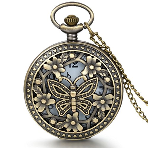 JewelryWe Vintage Taschenuhr Damen Schmetterling Kettenuhr Analog Quarz Uhr mit Halskette Kette Pocket Watch