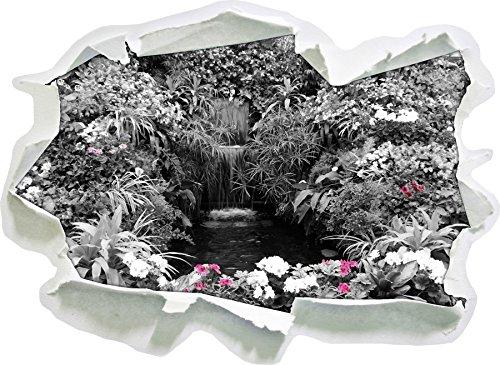 Un'ampia Blumenoase formato adesivo nero / bianco, carta da parati 3D: 92x67 cm decorazione della (Fiore Fontana Parete)