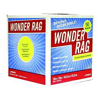 Trimaco 83650 16-Inch x 16-Inch Microfiber Wonder Rags, 50-Pack by Trimaco LLC