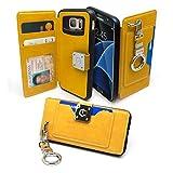 Cassa della galassia S7, Arium [frizione] Premium Portafoglio [Gold] [Pocket Copertina] [del respingente di TPU] protezione delle dita Keychain del supporto della clip [Protezione goccia] per Samsung Galaxy S7