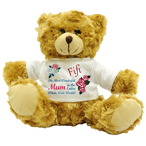 Fifi The Most Wonderful Mum In The Entire Whole Wide World! Personalised Mother's Day Plush Teddy Bear (Approx 22cm High).