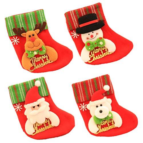 Vosarea 12 pezzi mini calze di natale in feltro, stivali di babbo natale, portaposate, supporto per posate, decorazione natalizia da appendere