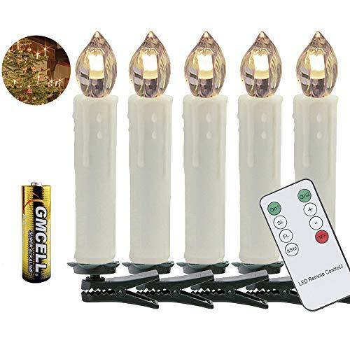 VINGO 50 Set LED Weihnachtskerzen mit Fernbedienung kabellos LED Kerzen mit Batterien Christbaumkerzen Innenbereich warm-weiß Baumkerzen Wasserdichte Weihnachtsbaumkerzen mit Timer-Funktion