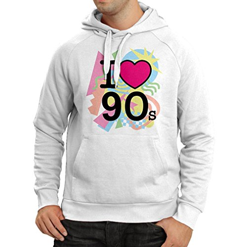 Kapuzenpullover I Love 90's! - Retro Style Clothing (Small Weiß Mehrfarben)