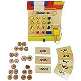 Habba-Babba Kasse aus Holz für Kaufmannsläden inkl. Scanner & Spielgeld Kartenleser drückbaren Knöpfen Kassenrolle und weiterem Zubehör ab 3 Jahre Bunt