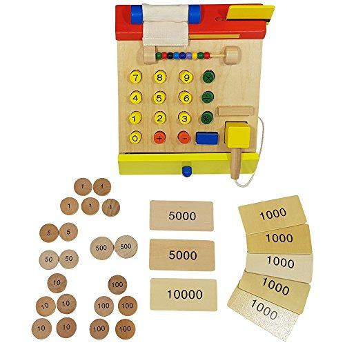 Habba-Babba Kasse aus Holz für Kaufmannsläden inkl. Scanner & Spielgeld Kartenleser drückbaren Knöpfen Kassenrolle und weiterem Zubehör ab 3 Jahre bunt (Bunte Euro-schein)
