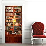 Extsud 77x200cm Adesivo da Porta Vintage Scaffale Carta da Parati per Porta Door Sticker in PVC Impermeabile Decorazione Casa Camera da Letto
