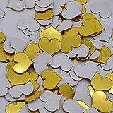 AtianZhen 100 unids / 3DDiy acrílico espejo etiqueta de la pared del corazón/forma redonda pegatinas calcomanía mosaico efecto espejo salón decoración del hogar, corazón oro 100pcs,heart gold 100pcs