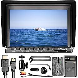 Neewer NW74K Pantalla cámara Monitor de campo 7 pulgadas Ultra HD 4K 1280 x 800 IPS con F550 batería de repuesto y cargador USB para Sony Canon Nikon Olympus Pentax Panasonic cámaras