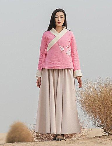 Standard Imbottito Da donna,Cappotto Stoffe orientali Casual Fantasia floreale Lino Cotone Manica lunga A V Rosa , dark pink-l , dark
