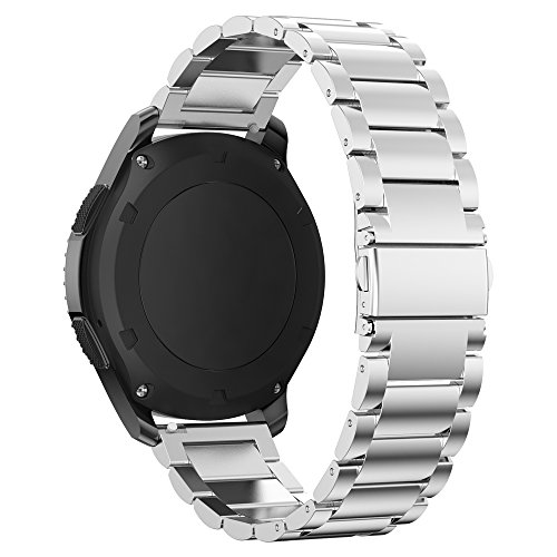 Pour Gear S3 Bracelet, iBazal Gear S3 Frontier / Classic Bracelet de Montre 22mm Watch Band Acier Inoxydable Band pour Samsung Gear S3 Frontier / Classic SM-R760 [Style Classique] - Argent Elegant