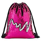 Deeplive Fashion Mermaid sacca Magic reversibile Sequin zaino Glittering Dance bag, borsa per la scuola, sport all' aria aperta per ragazze donne bambini, RoseSilvery