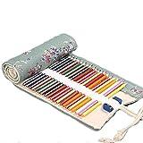 Aikesitrousse à crayon enroulable pour 72 crayons de toile de motif prune sac à crayon de toile stylo de stockage 1pc