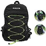 Aodoor Mochila plegable, 25L Ultra Ligero, Nylon Impermeable, Bolsa Plegable, para Trekking Viajes al Aire Libre Ciclismo, 3 Colores (negro)