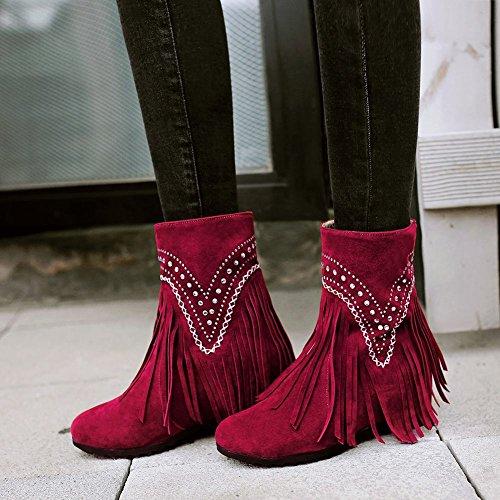Quente Escondido Botas Forro Vermelho Sapatos Mee Salto De Rhinestone Borla Mulheres wXIxgq7z