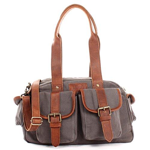 LECONI Henkeltasche Frauen Schultertasche Damentasche Vintage-Look Canvas + Leder Damen Retro Freizeit Mode Handtasche Umhängetasche 35x20x12cm braun grau LE0042-C