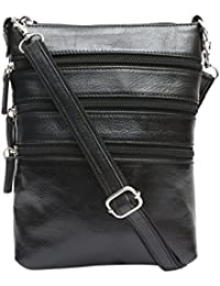 Genuine Leather Stylish Multipurpose Unisex Sling Bag (Black)
