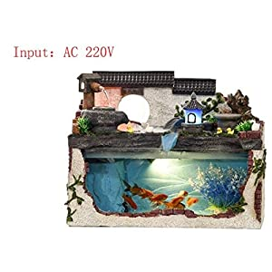 WANGYAN1886 Tropical Fish Aquarium Waterwheel Fountain With Light Pump Artificial Plant Desktop Office Home Decoration…