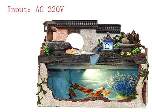WANGYAN1886 Tropical Fish Aquarium Waterwheel Fountain With Light Pump Artificial Plant Desktop Office Home Decoration…
