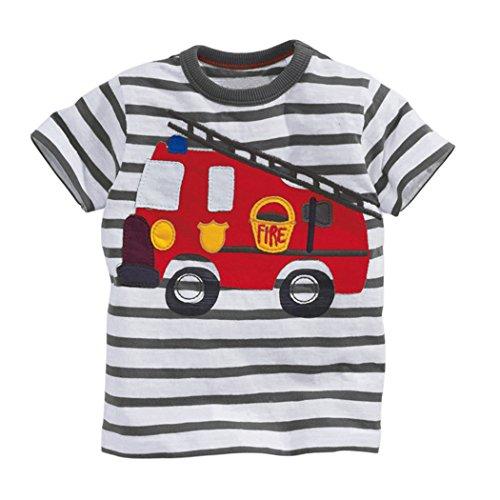 Tarkis Kinder T-Shirt Baumwolle Streifen Feuer Cartoon Auto Muster Jungen Mädchen Kurzarm Oberteil Pullover Größe (92(Herstellergröße 90), 1-Feuerwehrauto)